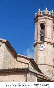 View of a tower bell in El Bruc, Catalonia, Spain
