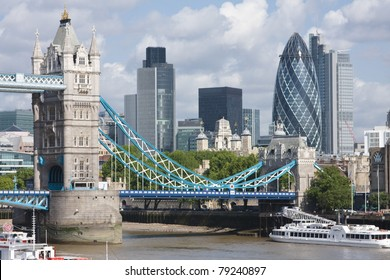 A view of Tower Bridge and the Gherkin from across the Thames