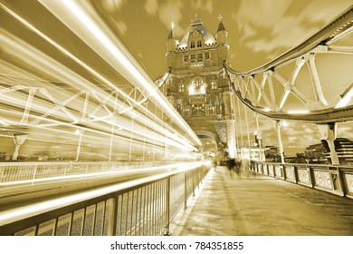View of Tower Bridge in London at night.