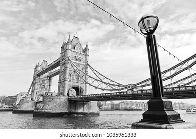 View of Tower Bridge in London with vintage tone effect.