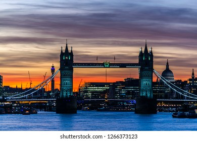 View of Tower Bridge at sunset.