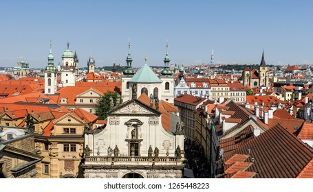 View from the tower of Charles Bridge on the Salvator church and the old town of Prague