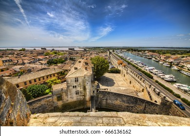 View from the Tower of Constance on the City Wall of Aigues-Mortes, Occitanie, France