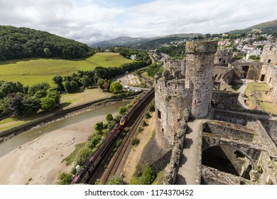 View from a tower of Conwy Castle UNESCO World Heritage site located in medieval town of Conwy  in North Wales UK