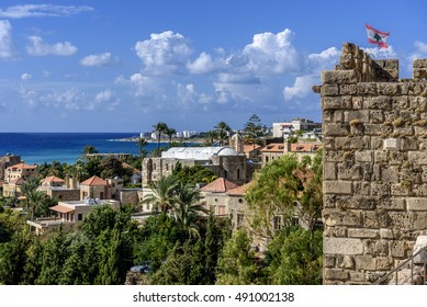 View from the tower of a Crusaders castle in jubail (Byblos) Lebanon