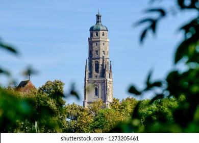 View to tower Daniel of St. Georg church in Noerdlingen in Germany