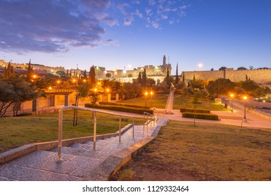 A view of the Tower of David in the old city of Jerusalem from Teddy Park.