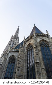 The view at the tower and the dome of Saint Stephan's cathedral in Vienna, Austria