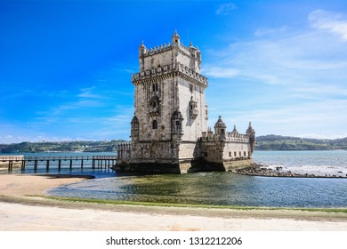 View from the Tower of Belén. Famous landmark of lisbon, Portugal.