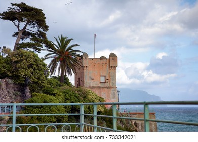 View of the Tower of Groppallo in Nervi, Italy, part of a fortress on the sea of the Gulf of Tigullio. City of Nervi in the province of Genoa. Italy
