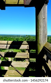 A view from the tower at Lapham Park in Waukesha County which  includes part of the structure from which the horizon was images on a blue cloudless sky day.