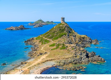 View of tower on Cape de la Parata, Corsica island, France