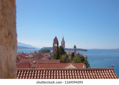 View from tower on Rab city in Croatia