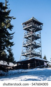 view tower on Velka Cantoryje hill on czech-polish borders in winter Slezske Beskydy mountains with clear sky