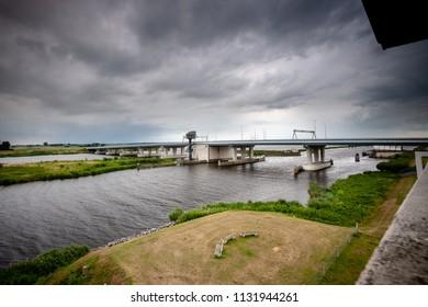 View from tower over the delta area of the river IJssel at the height of the ramspol bridge between Kampen and the Noordoostpolder