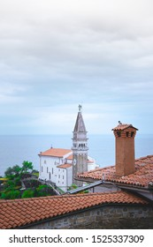 View of the tower. Piran city on the Adriatic Sea in Slovenia.