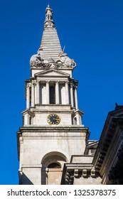A view of the Tower of St. Georges Bloomsbury located in London, UK.