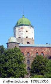 View of the tower of St. Olaf in Vyborg castle. Vyborg city, Russia. St Olaf's tower