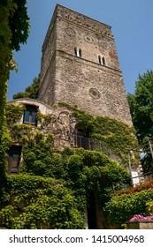 View of the tower of Villa Rufolo in Ravello on the Amalfi Coast. June 2019 Ravello, Campania - Italy