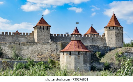 View to towers of Bendery fortress from bank of Dniester river. Moldova. The fortress was built during the Ottoman times.