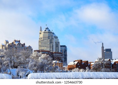 View of the towers, buildings. skyscrapers  in winter. Landscape of the Dnepr city, covered with snow and hoarfrost. Ukraine ,Dnepropetrovsk, Dnipro, Dnepropetrovsk