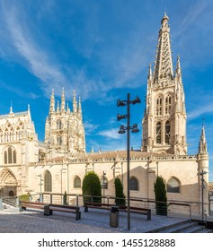 View at the Towers of Cathedral of Saint Mary in Burgos, Spain