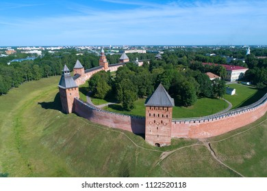 View of the towers of the Kremlin of Veliky Novgorod on a sunny June day (aerial survey). Russia