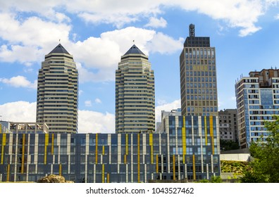 View of the towers and skyscrapers in the center of the Dnipro city (Dnepropetrovsk, Dnepr,  Dnipropetrovsk), Ukraine