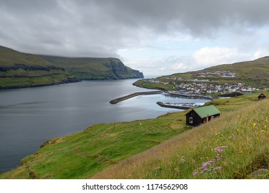 View of Eiði town from above, Faroe Islands