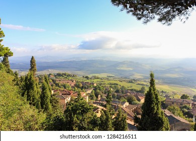 View of town below Volterra, Italy