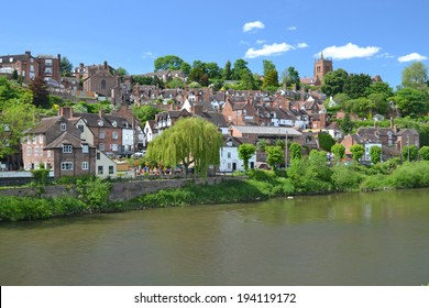 view of the town of Bridgnorth across the River Severn in Shropshire, UK
