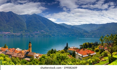 View from the town of Carate Urio, on Lake Como. Alps, Italy.