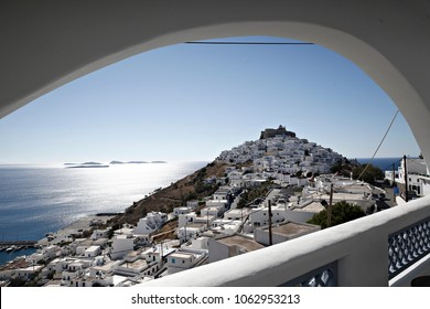 View the town of Chora, at the Greek island of Astypalaia, in Dodecanese island complex on July 29,2017