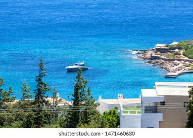 View of the town Elounda, Crete, Greece.