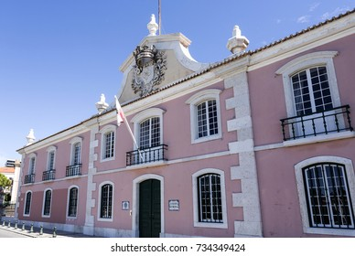 View of the Town Hall building, a former palace stable and coach house, in Oeiras, Portugal