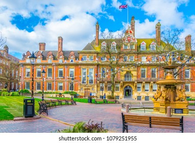 View of town hall in Leicester, England