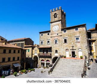view of the town hall in the medieval city of Cortona, Tuscan , Italy