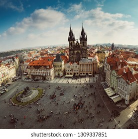 View from the Town Hall on Prague Old Town Square and Church of Mother of God in the Old Town quarter of Prague. Czech Republic.