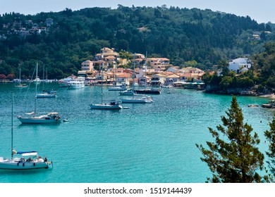 View of the town of Lakka on the Greek island of Paxos in Summer