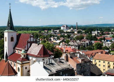 View of the town Litovel from the town hall tower, left church of St. Mark, Czech Republic