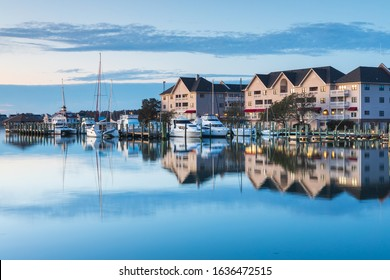 View of the town of Manteo's waterfront marina at daybreak in the Outer Banks of North Carolina.