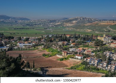 View of the town of Metula in Israel and the town of Marjayoun in Lebanon, both situated on the Israeli-Lebanese border, as seen from Dado lookout point, Upper Galilee, Israel