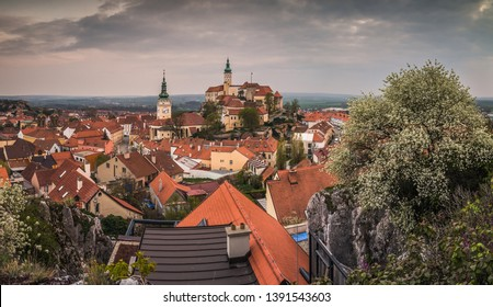 View of Town of Mikulov with Mikulov Castle in South Moravia, Czech Republic