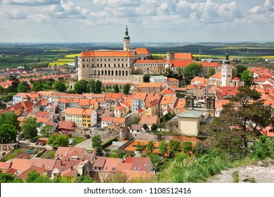 View to the town of Mikulov in South Moravia, popular travel destination in Czech Republic