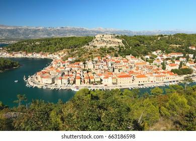 View of the town Novigrad and the Velebit Mountains, Dalmatia, Croatia