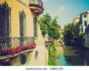 View of the town of Padua (Padova) in Veneto, Northern Italy vintage look