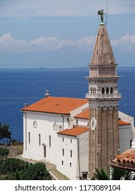 View of town Piran in Slovenian Istria on the Adriatic coast with church