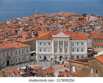 View of town Piran in Slovenian Istria on the Adriatic coast