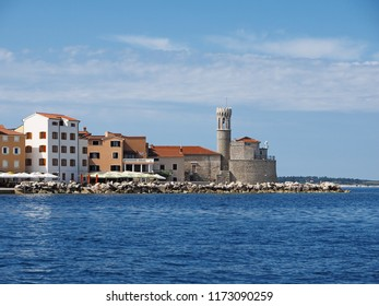 View of town Piran in Slovenian Istria on the Adriatic coast with lighhouse Punta