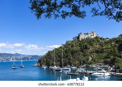 View at town Portofino on Ligurian sea in Italy
